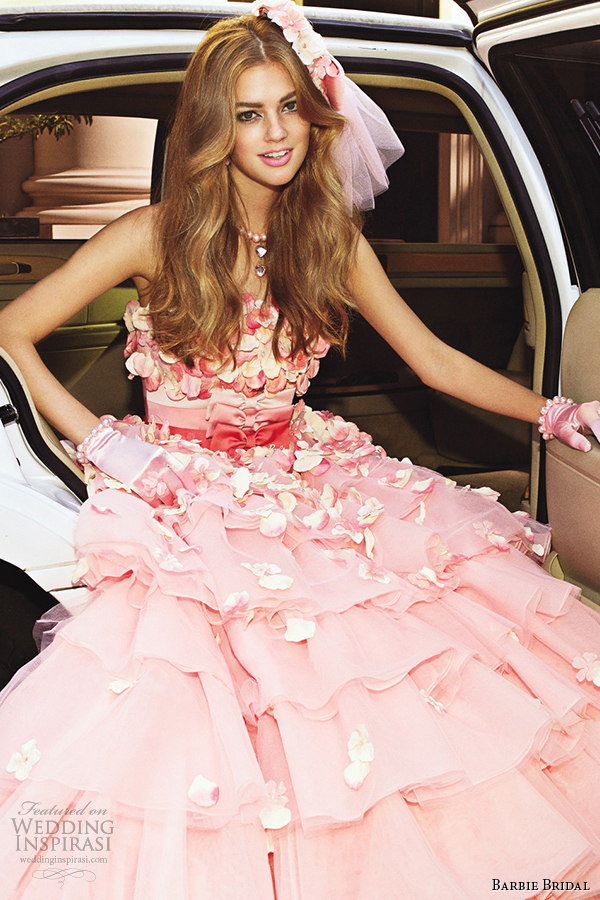 barbie bridal 2014 wedding dress luxurious barbie collection bb0132 pink