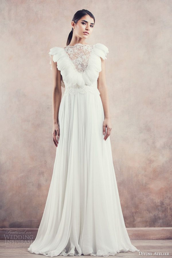 divine atelier bridal 2014 allegra wedding dress feather bodice