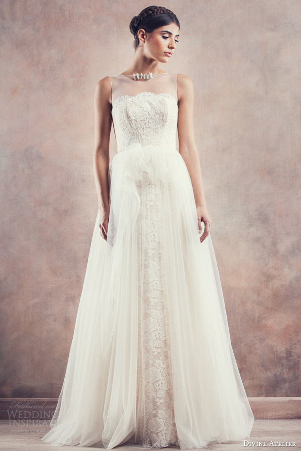 divine atelier bridal 2014 wedding dress illusion neckline rebeca