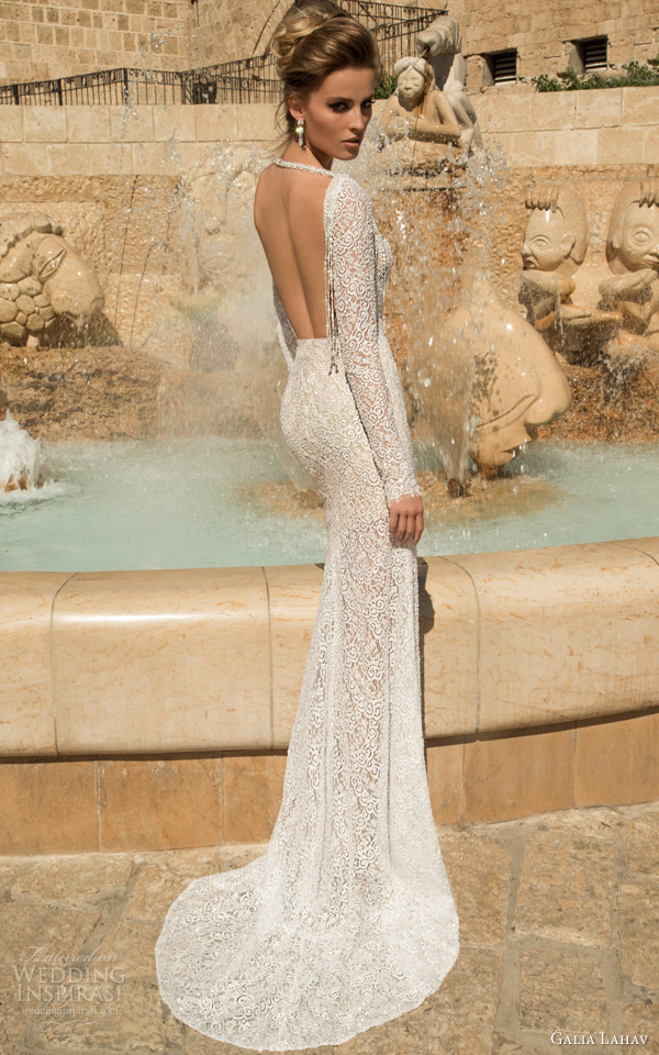 galia lahav 2015 bridal veneto long sleeve wedding dress back view