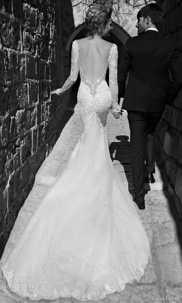 galia lahav bridal 2015 navona long sleeve sheath wedding dress back