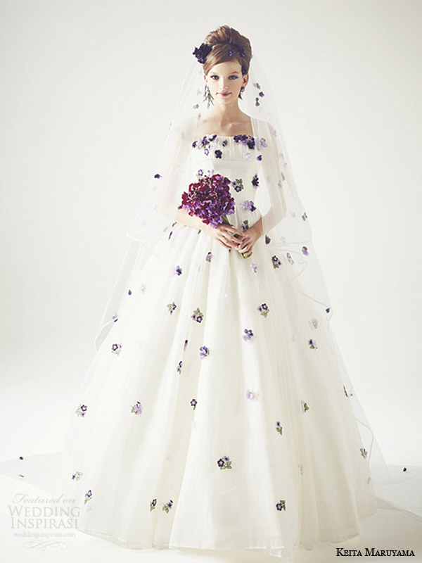 keita maruyama japan 2014 floral embroidery ball gown wedding dress