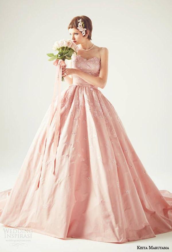 keita maruyama japan 2014 strapless pink ball gown wedding dress