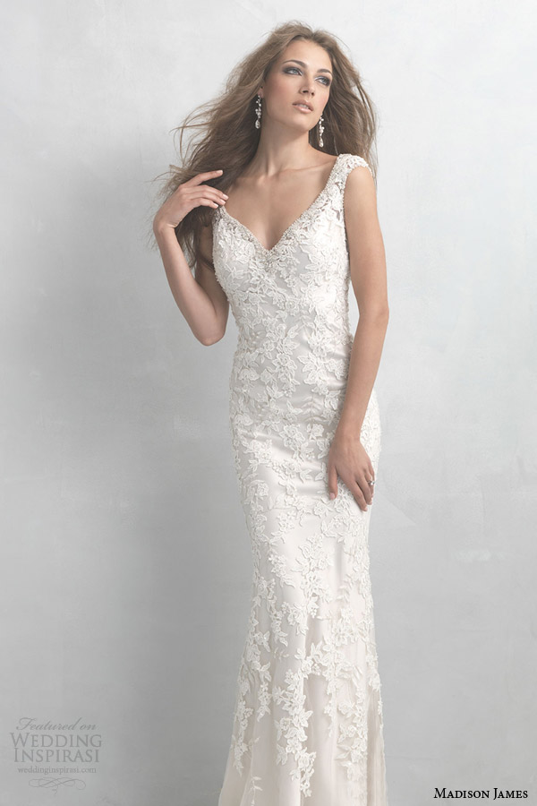 Allure bridals madison james collection 2014 wedding for Sheath style wedding dress