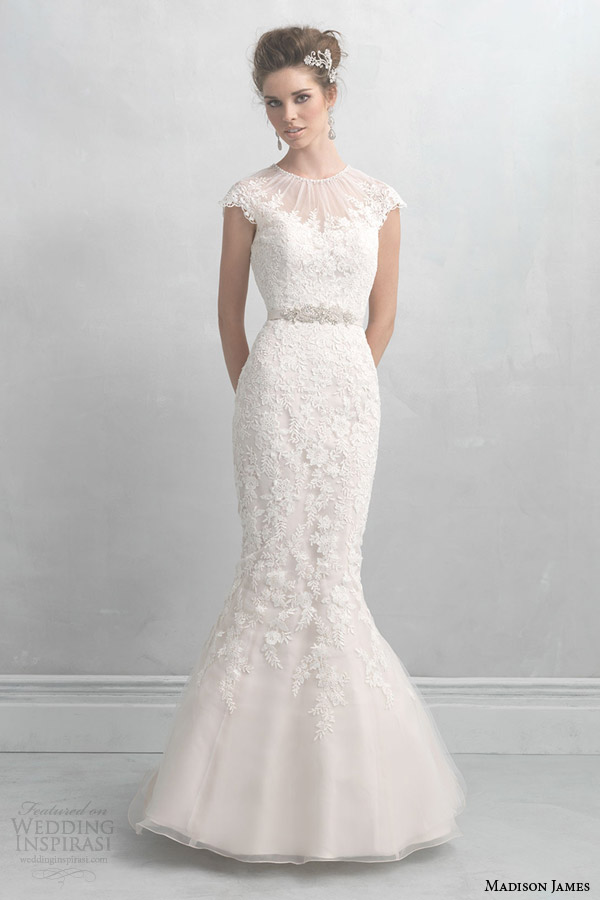 Allure bridals madison james collection 2014 wedding for Trumpet style wedding dresses