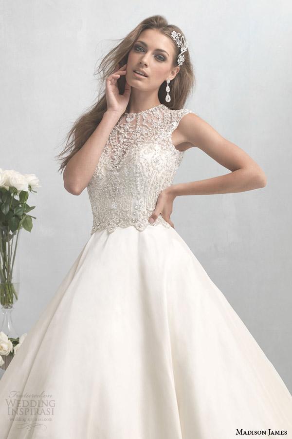 madison james wedding dress 2014 2015 ball gown beaded illusion bodice style mj02