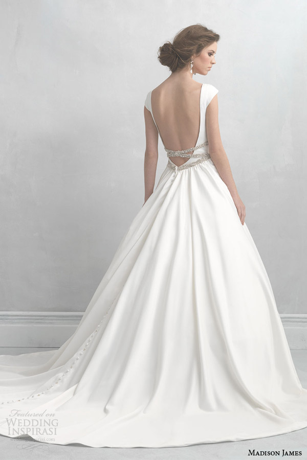 madison james wedding dresses 2014 cap sleeve satin ball gown style mj07 back view