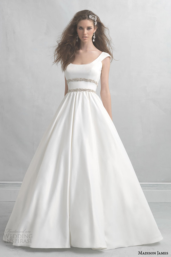 madison james wedding dresses 2014 cap sleeve satin ball gown style mj07
