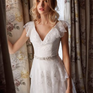 miamia bridal 2014 mae lace wedding dress tiered skirt