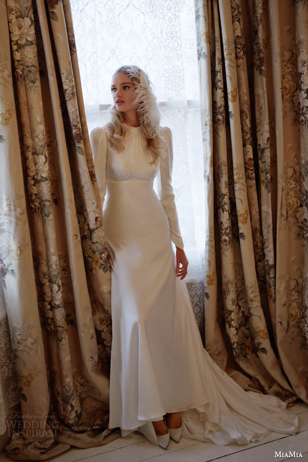 miamia bridal 2014 nell long puff sleeve high neck period wedding dress