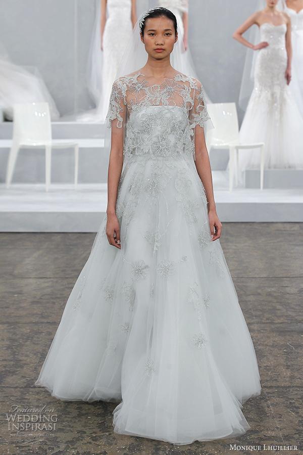 monique lhuillier bridal spring 2015 color wedding dress elsa