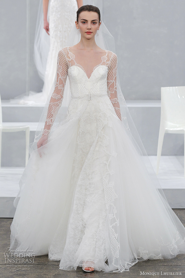 monique lhuillier bridal spring 2015 wedding dress karlotta gown with long illusion sleeves
