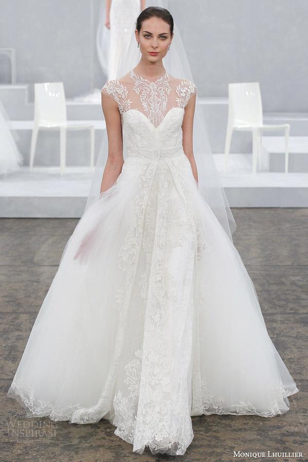 monique lhuillier wedding dress spring 2015 bridal gown illusion cap sleeves annabelle