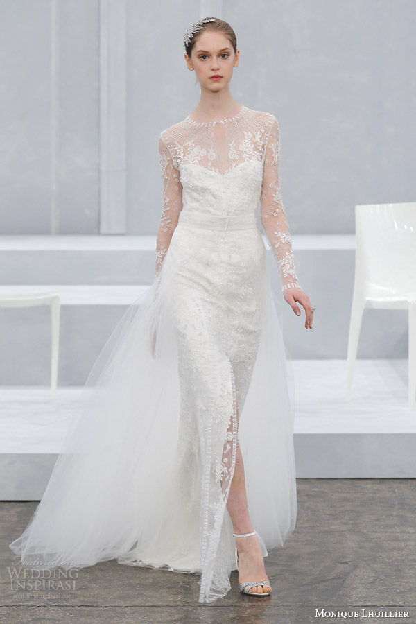 monique lhuillier wedding dress spring 2015 bridal gown long illusion sleeves fabrienne