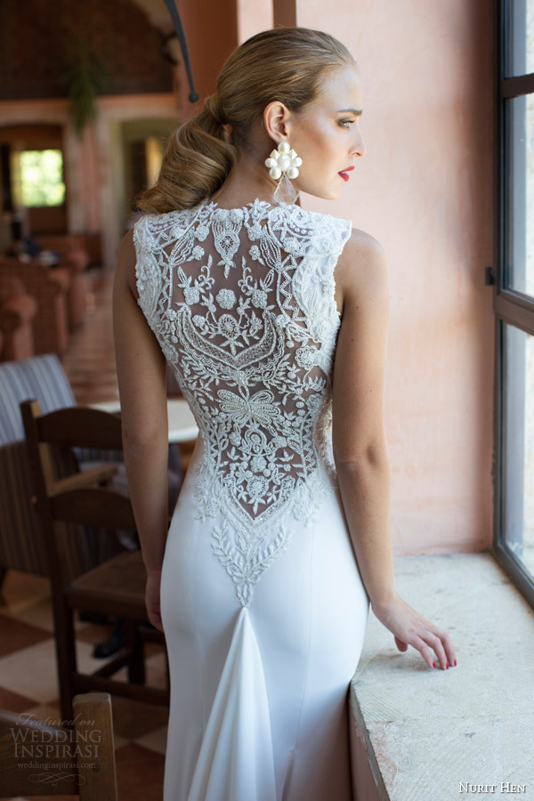 nurit hen 2014 wedding dress amazing illusion back beading