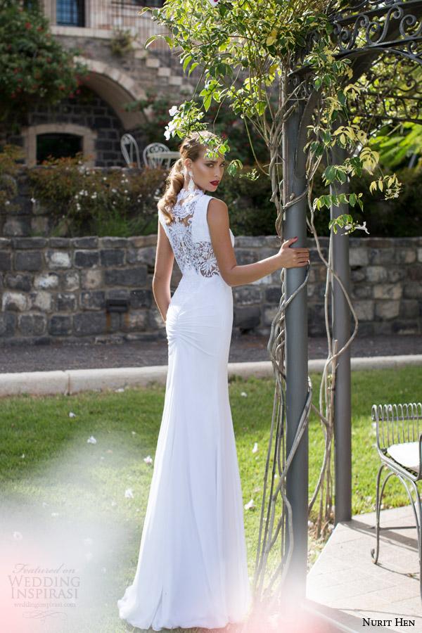 Nurit galinha noivas 2014 2015 vestido de noiva sem mangas ilusão vista traseira