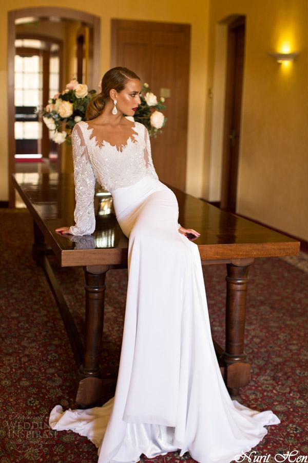 Nurit galinha de noiva 2014 blusão vestido com corpete frisado manga longa
