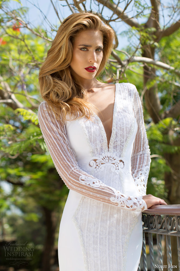 nurit hen bridal 2014 v neck illusion long sleeve wedding dress close up view