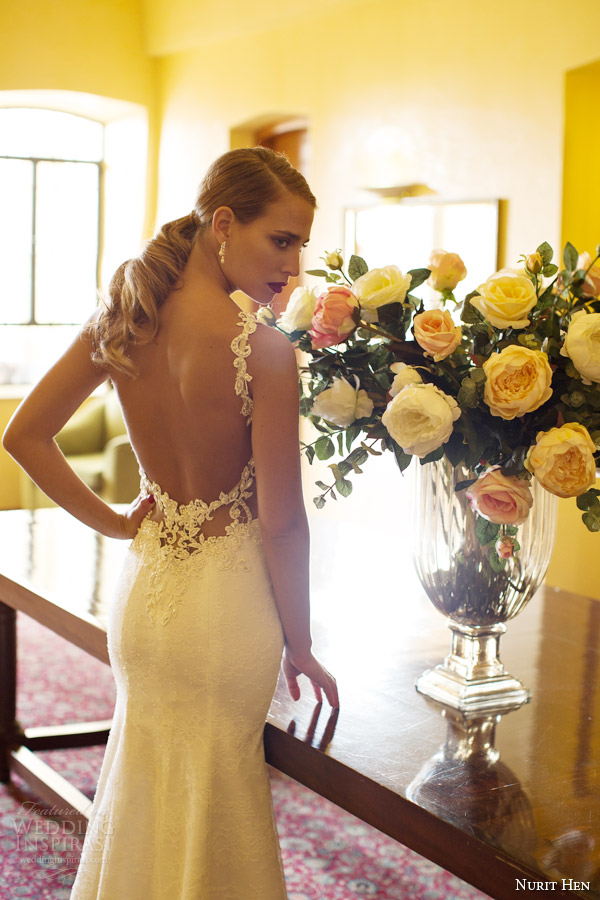 vista nurit galinha de noiva vestido de noiva 2014 tiras de renda de volta
