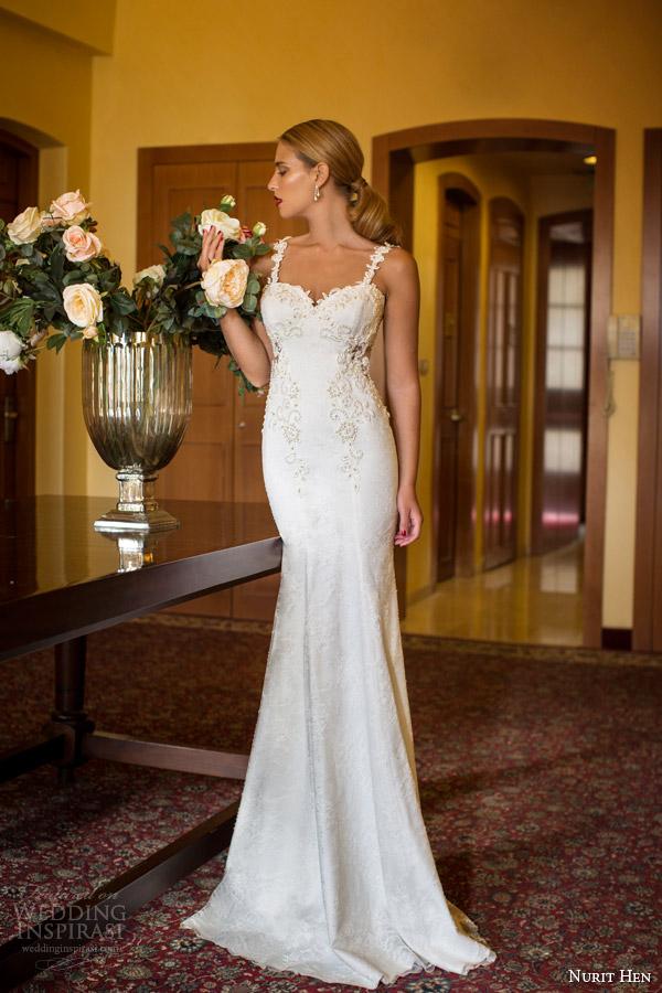 tiras nurit galinha noivas vestido de noiva 2014 de renda vista frontal