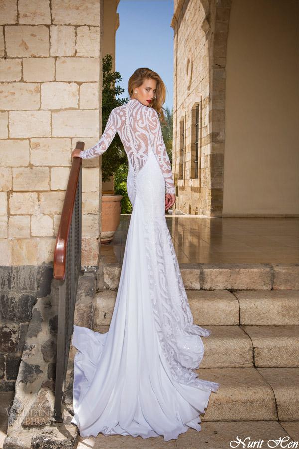 Nurit galinha de noiva vestido de noiva 2014 mangas compridas vista de volta