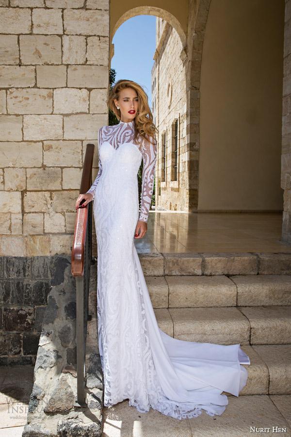 Nurit galinha de noiva 2014 vestido de noiva de mangas compridas