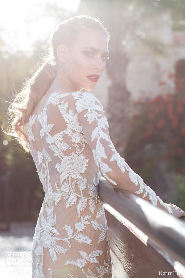 Nurit galinha panela do verão 2014 ilusão de manga longa vestido de noiva bainha de perto
