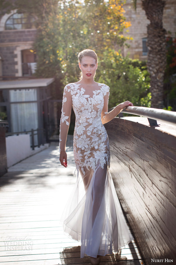 Nurit Hen Bridal Summer 2017 Illusion Long Sleeve Sheath Wedding Dress