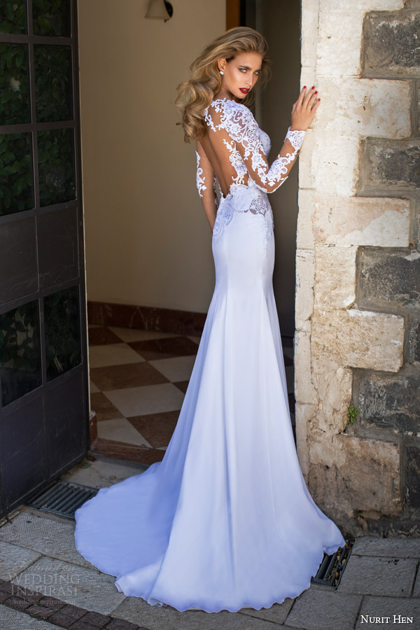 Nurit Hen Summer 2017 Illusion Long Sleeve Wedding Dress Back View