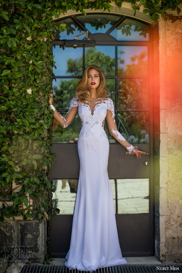 nurit hen summer 2014 illusion long sleeve wedding dress front view