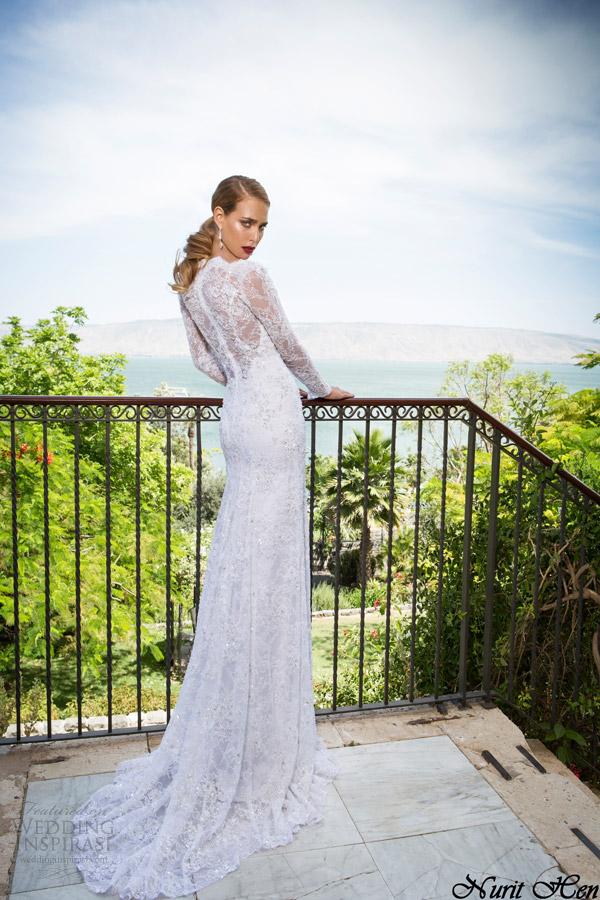 vestidos de noiva nurit galinha 2014 manga longa de renda bainha vestido vista traseira