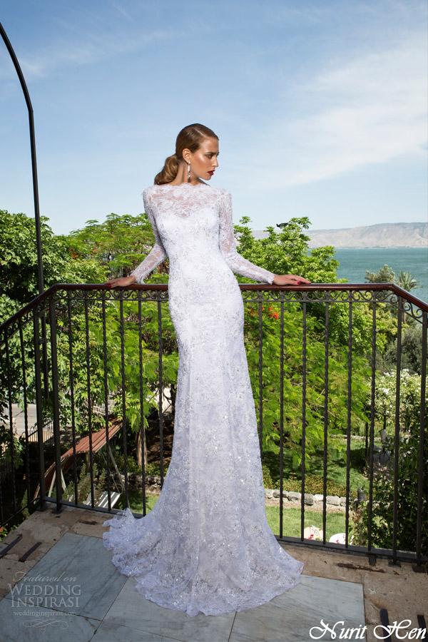 vestidos de noiva nurit galinha 2014 manga longa vestido de renda bainha