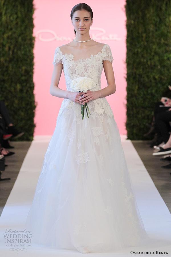 oscar de la renta bridal 2015 ivory chantilly lace a line cap sleeve wedding dress