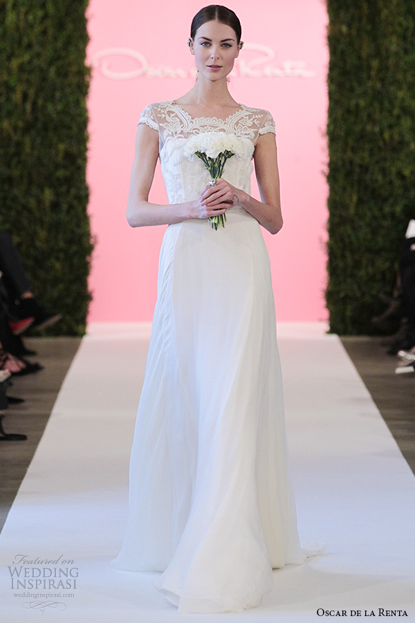 oscar de la renta bridal 2015 ivory crinkle silk chiffon a line wedding dress cornelia