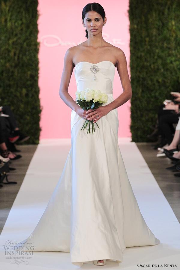 oscar de la renta bridal 2015 ivory duchess satin trumpet mermaid wedding dress