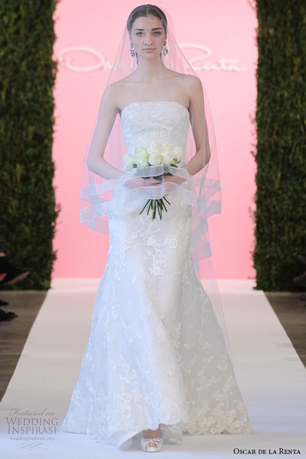 oscar de la renta bridal 2015 ivory silk organza trumpet mermaid wedding dress cecilia