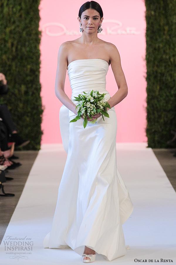 oscar de la renta bridal 2015 wedding dress ivory stretch mikado trumpet mermaid strapless caroline