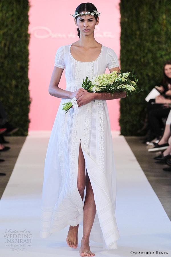 oscar de la renta bridal 2015 white cotton wedding dress a line bastiste