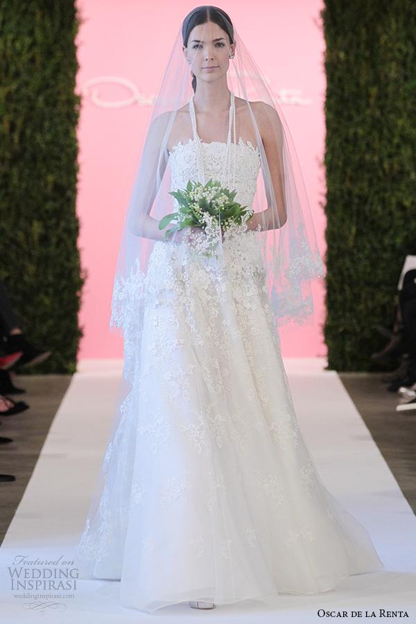 oscar de la renta bridal 2015 white fleur embroidered tulle a line wedding dress caitlin