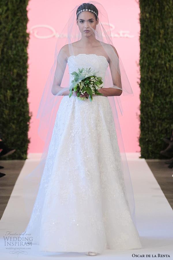 oscar de la renta bridal 2015 white lace printed silk mesh organza a line wedding dress corinne