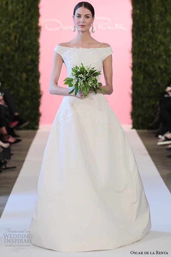 oscar de la renta bridal 2015 white silk faille ball gown embriodery wedding dress clara