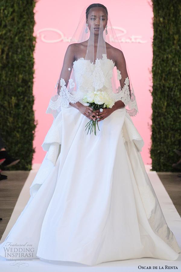 oscar de la renta bridal 2015 white silk faille ball gown lace applique draped bustle wedding dress cassandra
