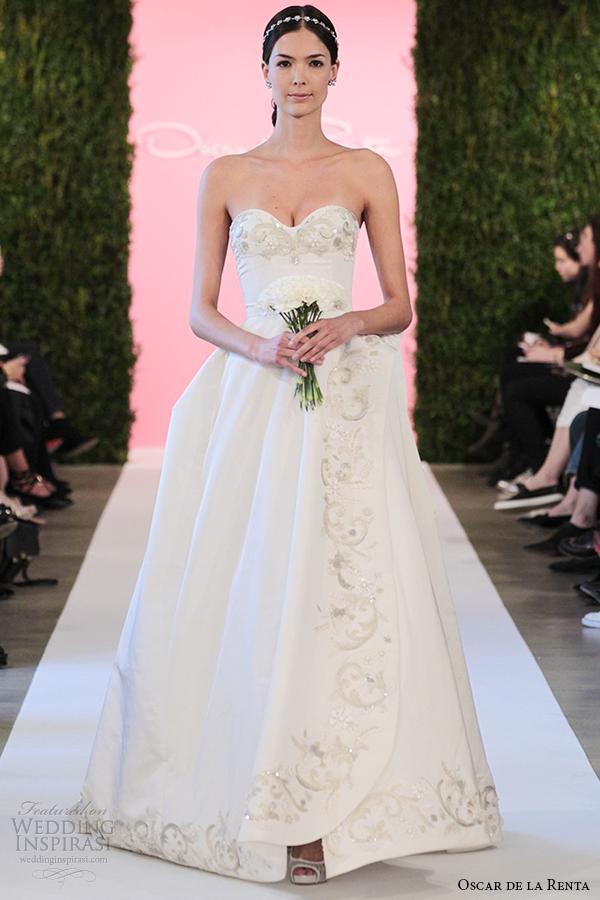 oscar de la renta bridal 2015 white silk faille ball gown wedding dress carmen