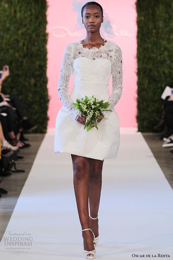 oscar de la renta bridal 2015 white silk faille short wedding dress long sleeve catherine