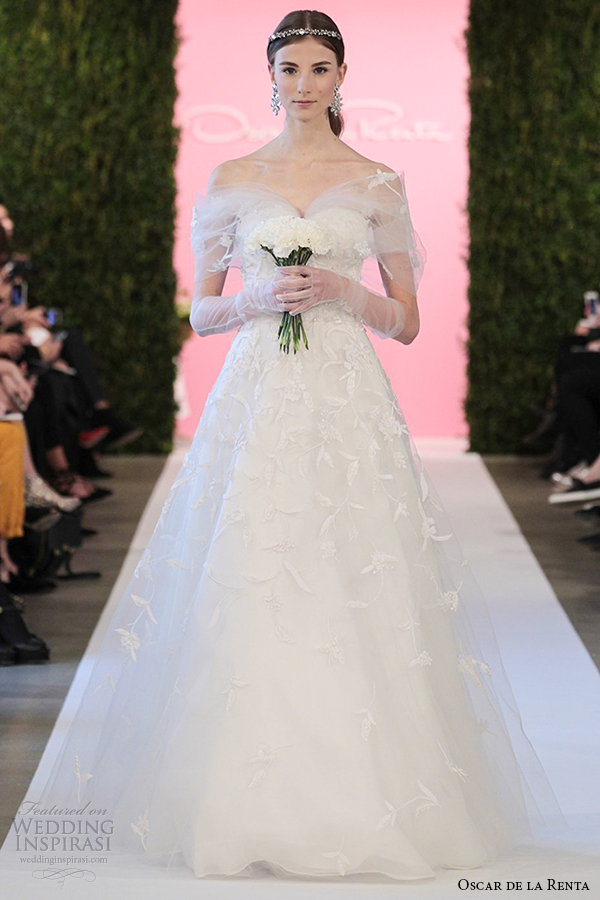 oscar de la renta bridal 2015 white tulle a line taffeta embroidery wedding dress charlotte