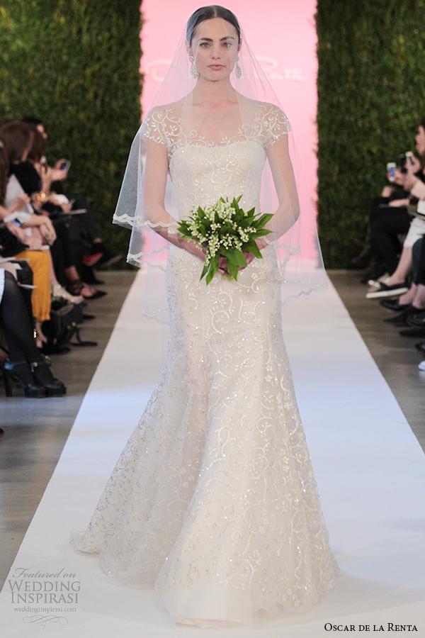 oscar de la renta bridal 2015 white tulle a line wedding dress camilla