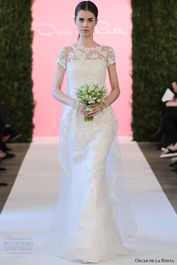 oscar de la renta bridal 2015 white tulle trumpet lace wedding dress colette