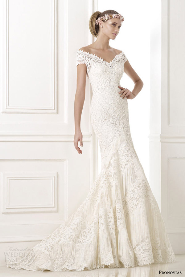 pronovias 2015 atelier kaira guipur lace wedding dress off shoulder sleeves