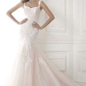 pronovias 2015 bice pink mermaid wedding dress with straps