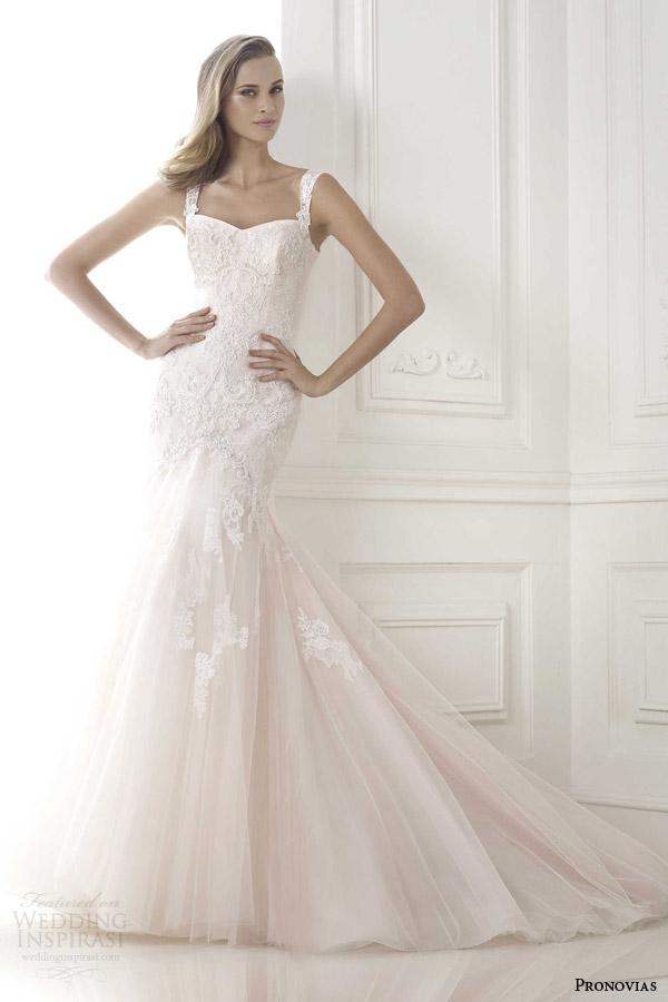 pronovias 2015 bice pink mermaid wedding dress with straps